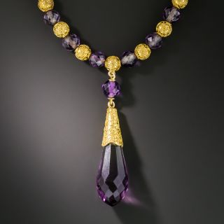 Victorian Amethyst and Gold Bead Necklace  - 2