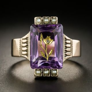 Victorian Amethyst and Seed Pearl Ring - 2
