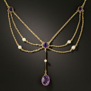 Victorian Amethyst and Seed Pearl Swag Necklace - 3