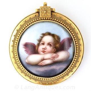 Victorian Angel Enameled Locket Brooch