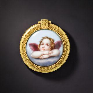 Victorian Angel Enameled Locket Brooch  - 1