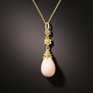 Victorian Angel Skin Coral Drop Necklace - 2