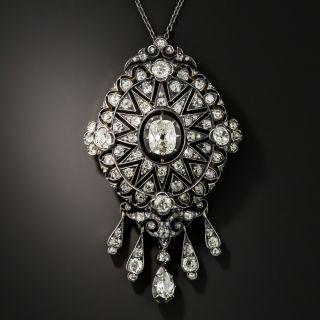 Victorian Antique Cushion Cut Diamond Pendant Necklace - 4