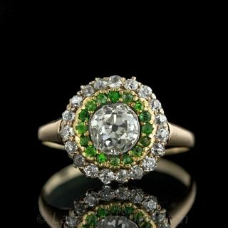 Victorian Diamond and Demantoid Engagement Ring Antique Jewelry