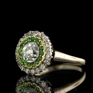 Victorian Antique Cushion Diamond and Demantoid Garnet Ring