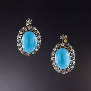 Antique Turquoise Glass and Diamond Earrings - 1