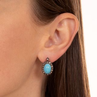 Antique Turquoise Glass and Diamond Earrings