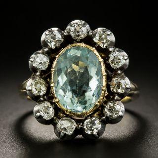 Victorian Aquamarine and Diamond Halo Ring - 3