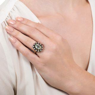 Victorian Aquamarine and Diamond Halo Ring
