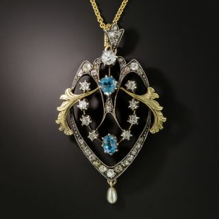 Victorian Aquamarine and Diamond Pendant - 2