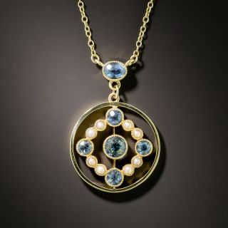 Victorian Aquamarine and Pearl Necklace - 2