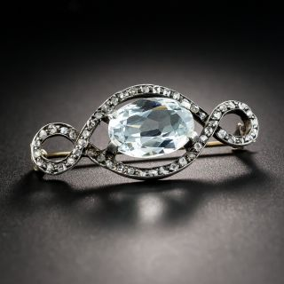Victorian Aquamarine And Rose-Cut Diamond Brooch