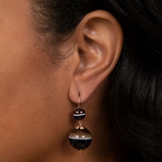 Victorian Banded Agate Ball Earrings