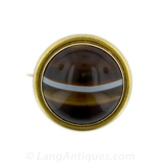 Victorian Banded Agate Brooch - 1