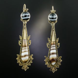 Victorian Banded Agate Earrings - 2