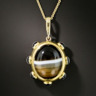 Victorian Banded Agate Mourning Pendant - 2