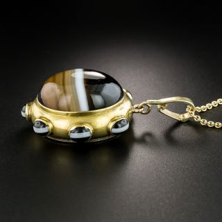 Victorian Banded Agate Mourning Pendant