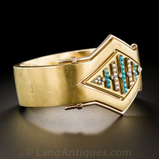 Victorian Bangle with Seed Pearls, Turquoise and Diamonds
