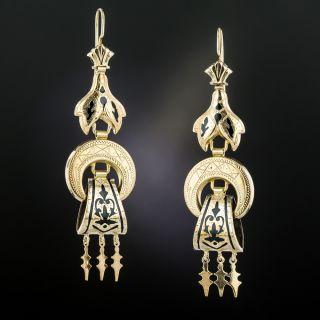Victorian Black Enamel Dangle Earrings, Circa 1880