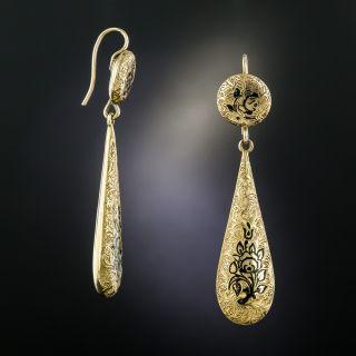 Victorian Black Enamel Floral Motif Drop Earrings - 2