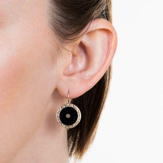 Victorian Black Onyx and Pearl Earrings
