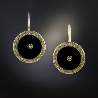Victorian Black Onyx and Pearl Earrings - 3