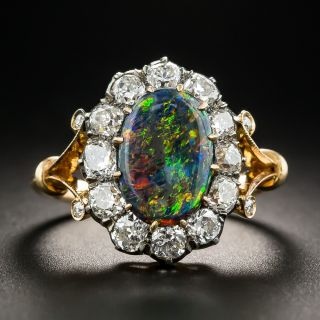 Victorian Black Opal with Diamond Halo Ring - 1