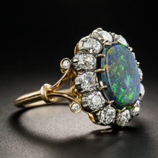Victorian Black Opal with Diamond Halo Ring