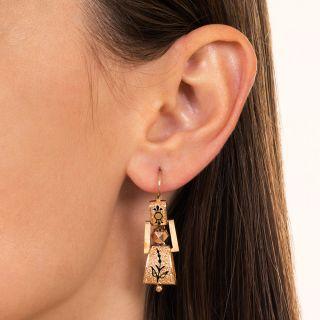 Victorian Black Taille d'Epargne Dangle Earrings
