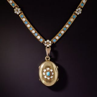 Victorian Blue and White Enamel Locket Necklace - 0