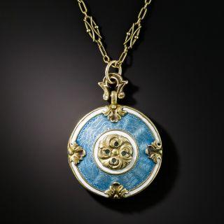 Victorian Blue and White Enamel Locket - 2