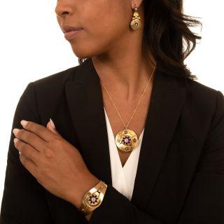 Victorian Blue Enamel and Diamond Bracelet, Pendant/Brooch and Earring Set