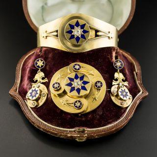 Victorian Blue Enamel and Diamond Bracelet, Pendant/Brooch and Earring Set - 2
