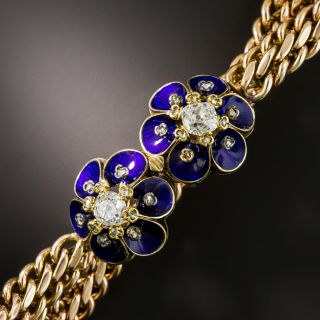 Victorian Blue Enamel and Diamond Bracelet - 2