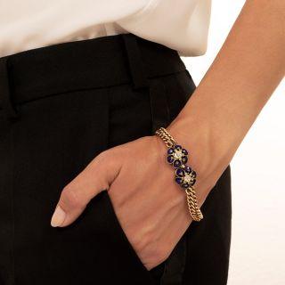 Victorian Blue Enamel and Diamond Bracelet