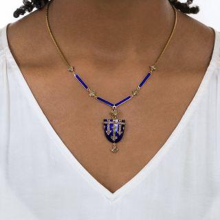 Victorian Blue Enamel and Diamond Shield Locket Necklace