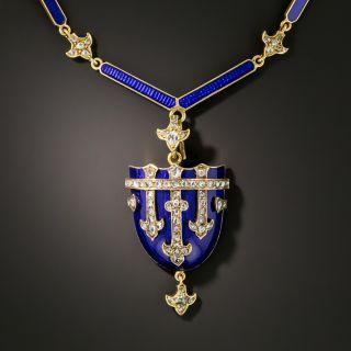 Victorian Blue Enamel and Diamond Shield Locket Necklace  - 3
