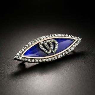 Victorian Blue Glass and Diamond Double Heart Brooch - 2
