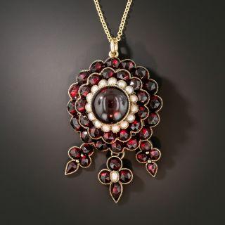 Victorian Bohemian Garnet and Pearl Pendant - 2