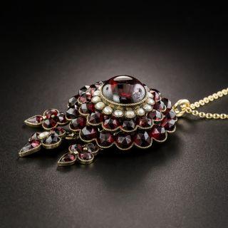 Victorian Bohemian Garnet and Pearl Pendant