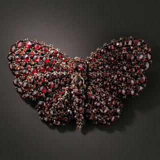 Victorian Bohemian Garnet Butterfly Brooch - 3