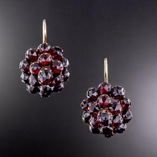 Victorian Bohemian Garnet Cluster Earrings - 2