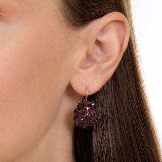Victorian Bohemian Garnet Cluster Earrings