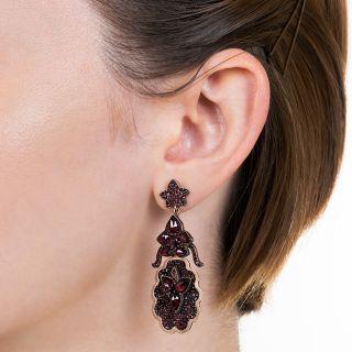 Victorian Bohemian Garnet Drop Earrings