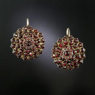 Victorian Bohemian Garnet Round Cluster Earrings - 3