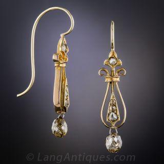 Victorian Briolette Diamond Drop Earrings