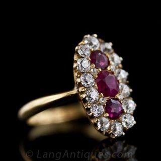 Victorian Burmese Ruby and Diamond Dinner Ring