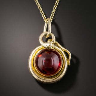 Victorian Cabochon Garnet Serpent Locket Necklace