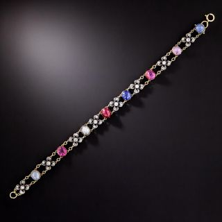 Victorian Cabochon Sapphire, Ruby and Diamond Bracelet - 1