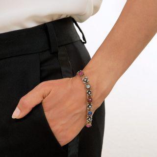 Victorian Cabochon Sapphire, Ruby and Diamond Bracelet